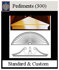 Pediments for Doors and Windows, Triangle, Sunburst, Ramshead Pilasters