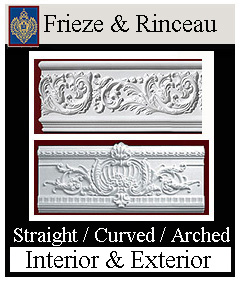 Frieze and Rinceau mouldings - curved, arched and straight