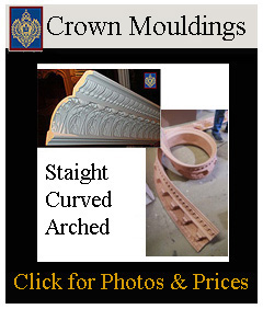 Crown Mouldings curved, arched and straight lengths - decorative and plain crown moldings